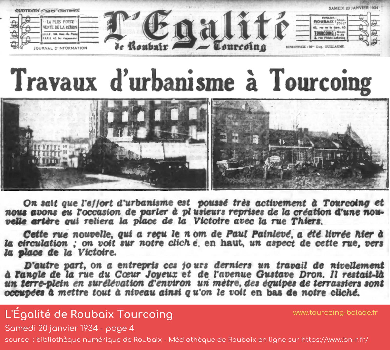 L'Égalité Roubaix Tourcoing 1934, rue Painlevé
