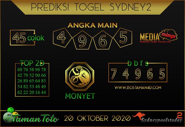 Prediksi Togel SYDNEY 2 TAMAN TOTO 20 OKTOBER 2020