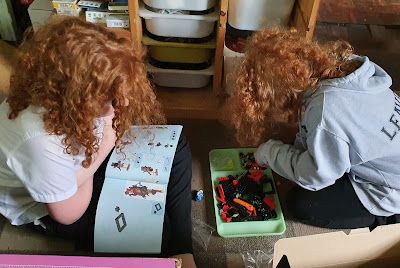 Brothers sorting LEGO together sitting on the floor