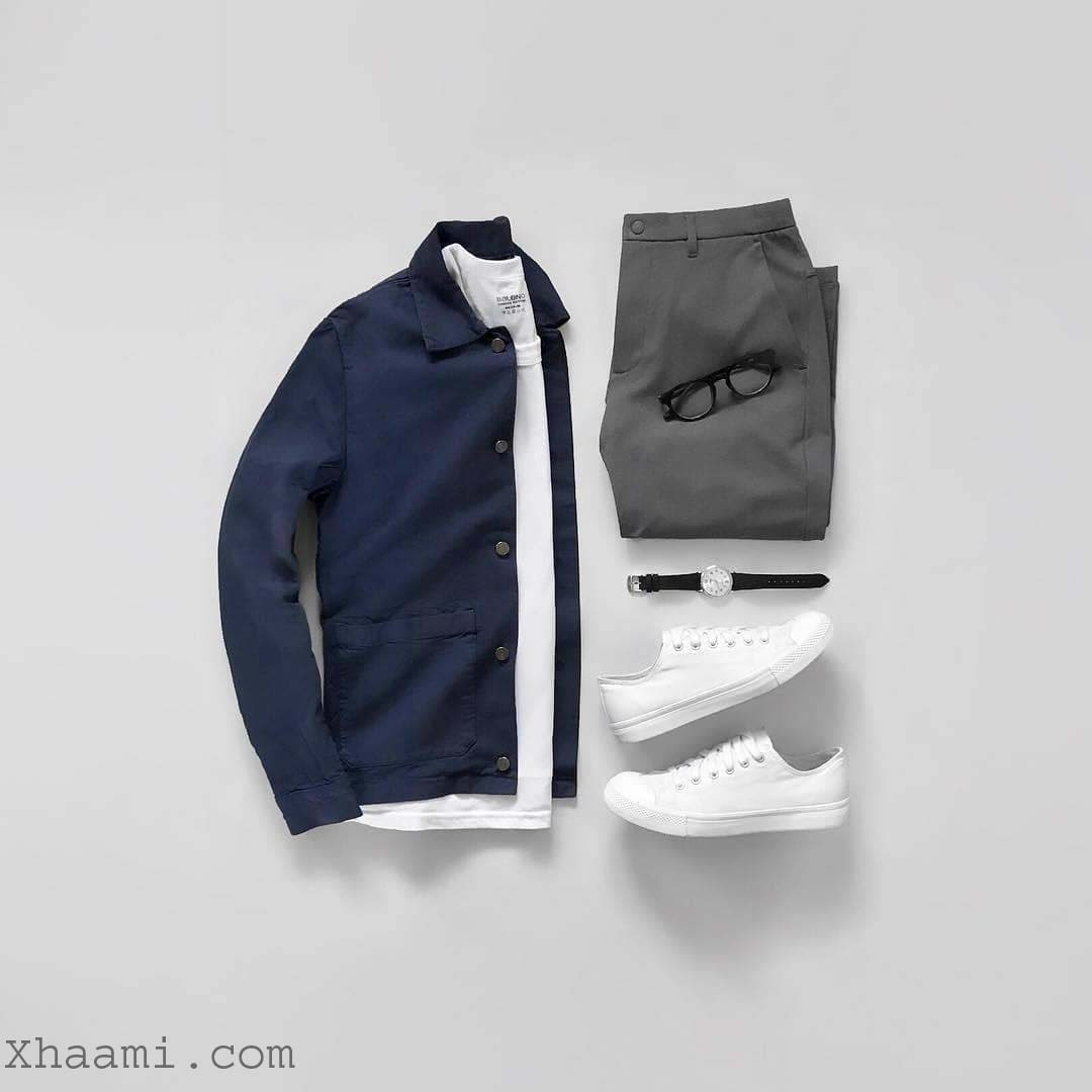 Men Outfit Ideas Blue and gray