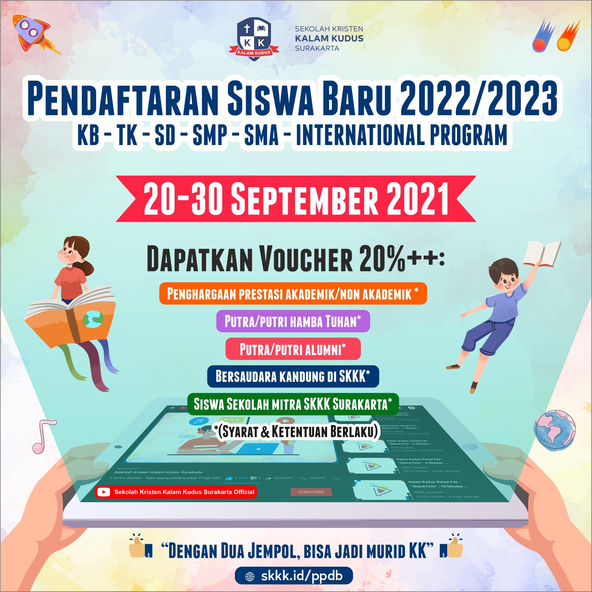 Pendaftaran Siswa Baru Kalam Kudus - Kalam Kudus Virtual Fair 2021