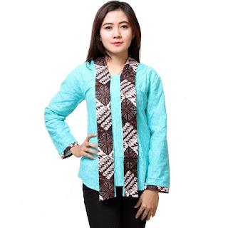 Model Baju Batik Kantor Wanita Kombinasi Kain Polos