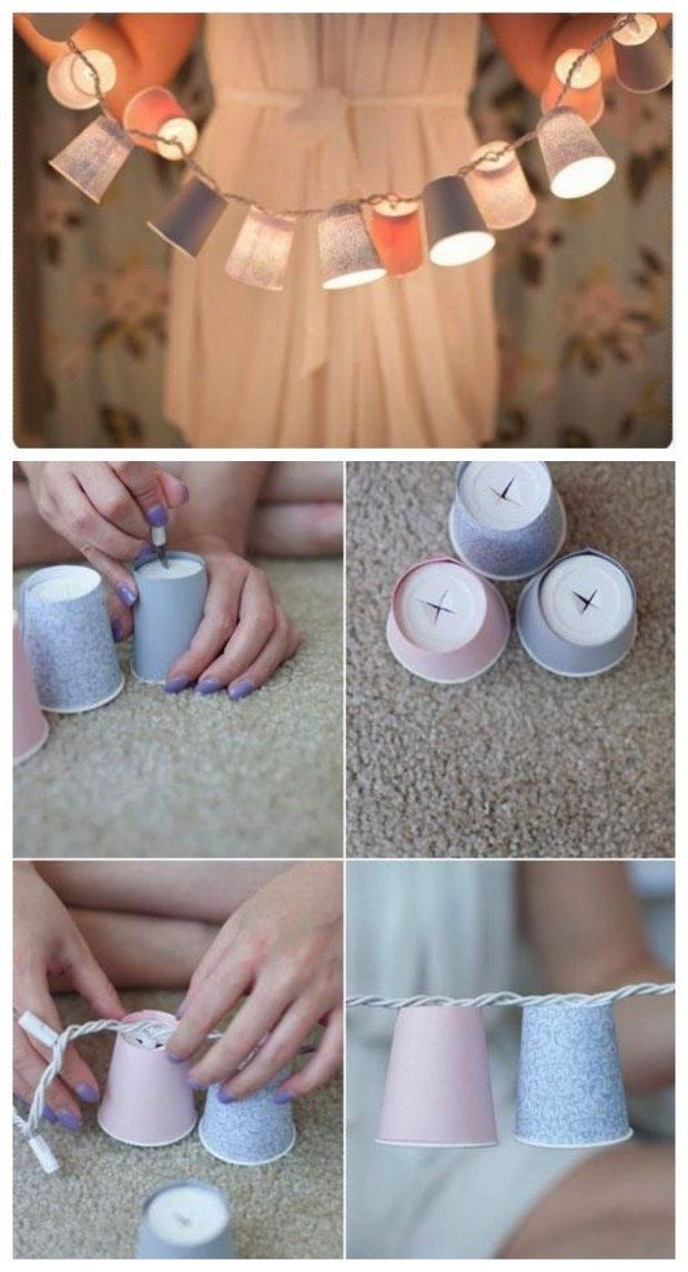 DIY party lighting decor at home out of Paper cups, party decoration ideas diy, Birthday Party Ideas, Birthday Decorations. things to make with paper cups