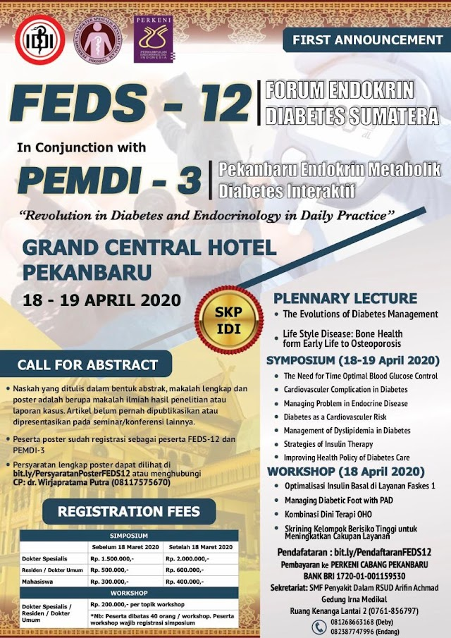 *PERKENI Cab Pku* proudly present:     *FORUM ENDOKRIN DIABETES SUMATERA (FEDS-12) in conjunction with PEKANBARU ENDOKRIN METABOLIK DIABETES INTERAKTIF (PEMDI-3)*  18-19 April 2020