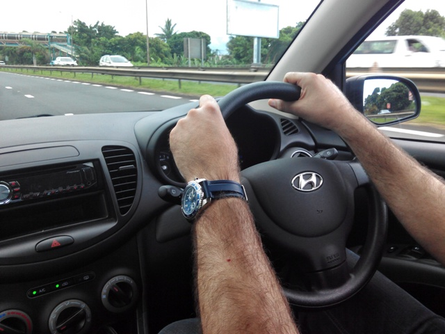 Paco behind the wheel and right in Mauritius