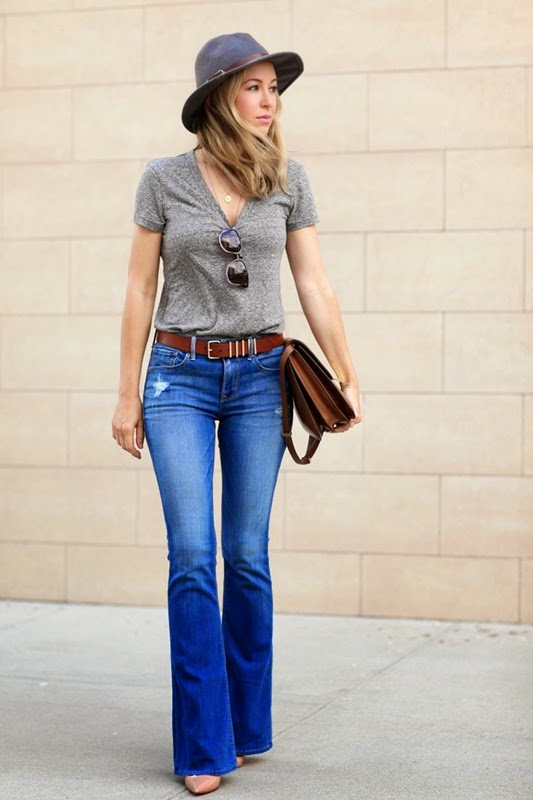 Wearing a Flared Jeans with Grey T Shirt, Hat-Brown and Belt
