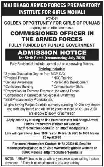 Free Armed Forces Commissioned Officer Coaching for Girls 2020 by Punjab Government