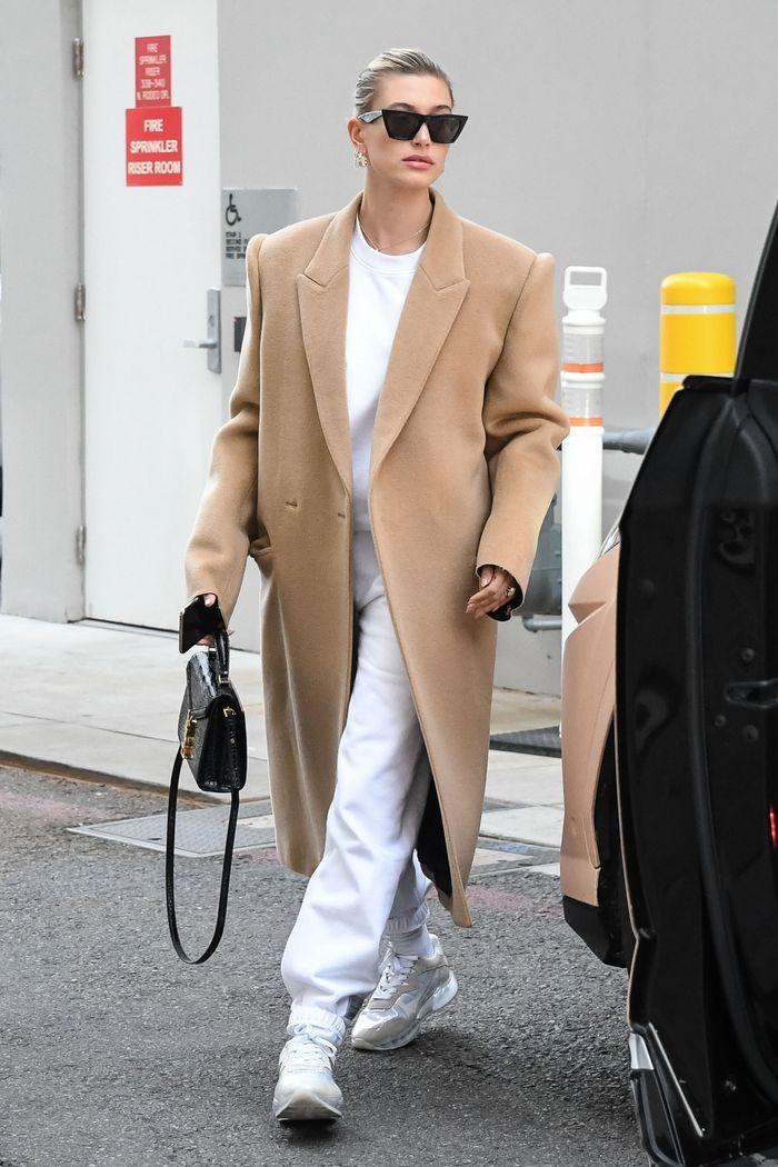 Hailey Bieber Wearing a nude long coat