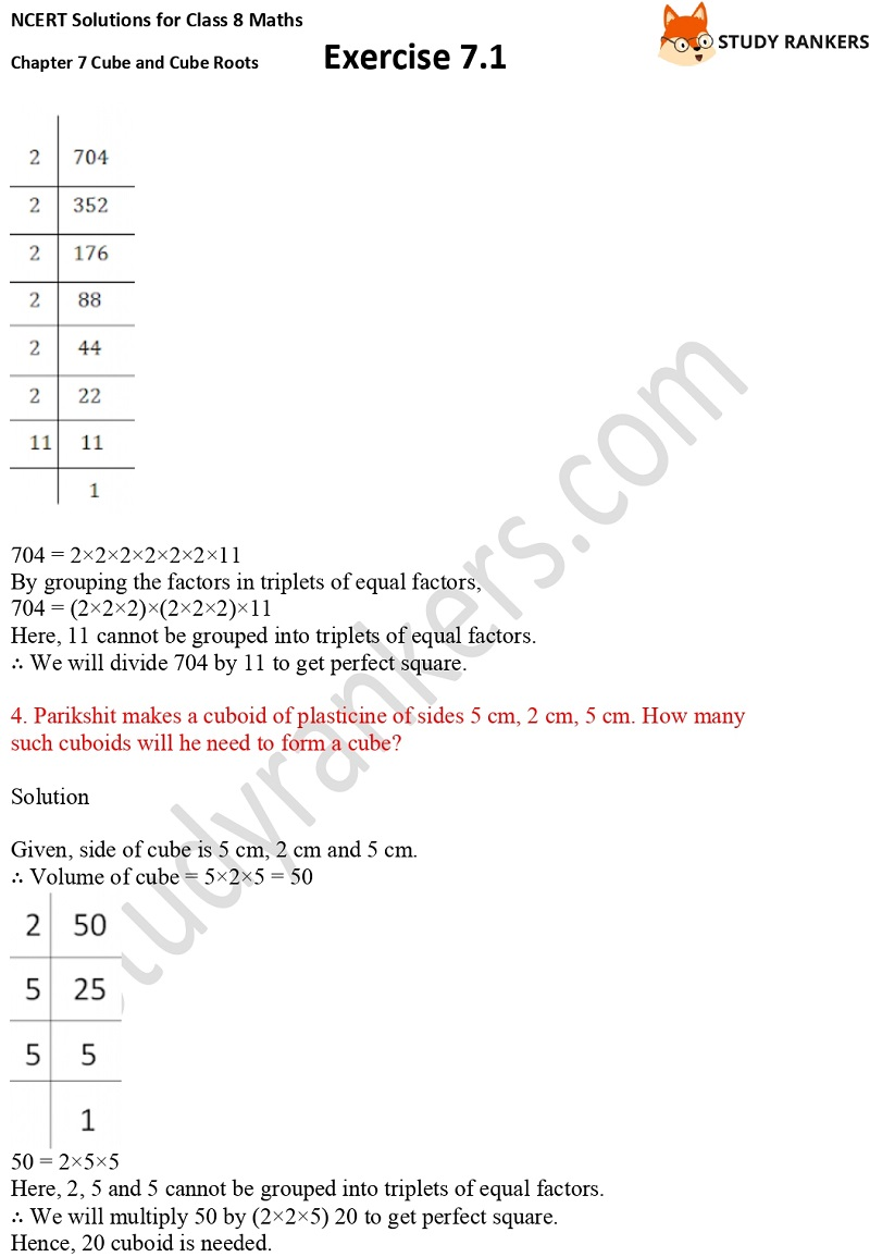 NCERT Solutions for Class 8 Maths Ch 7 Cube and Cube Roots Exercise 7.1 10