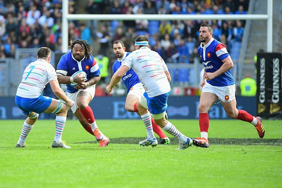 Mathieu Bastareaud of France takes the ball into contact