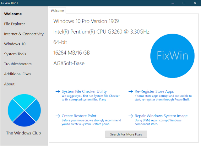 FixWin for Windows 10 10.2.1 | Utilidad de reparación para Windows 10 | Portable