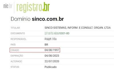 Domínio SINCO.COM.BR completa 24 anos