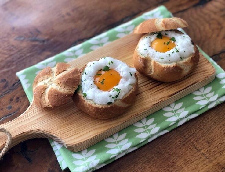 Panecillos rellenos de champiñones y huevo