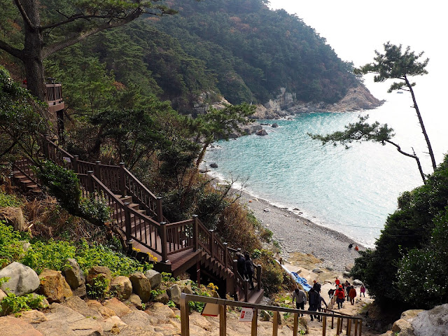Stairway down to pebble beach in Taejongdae Park, Busan, South Korea