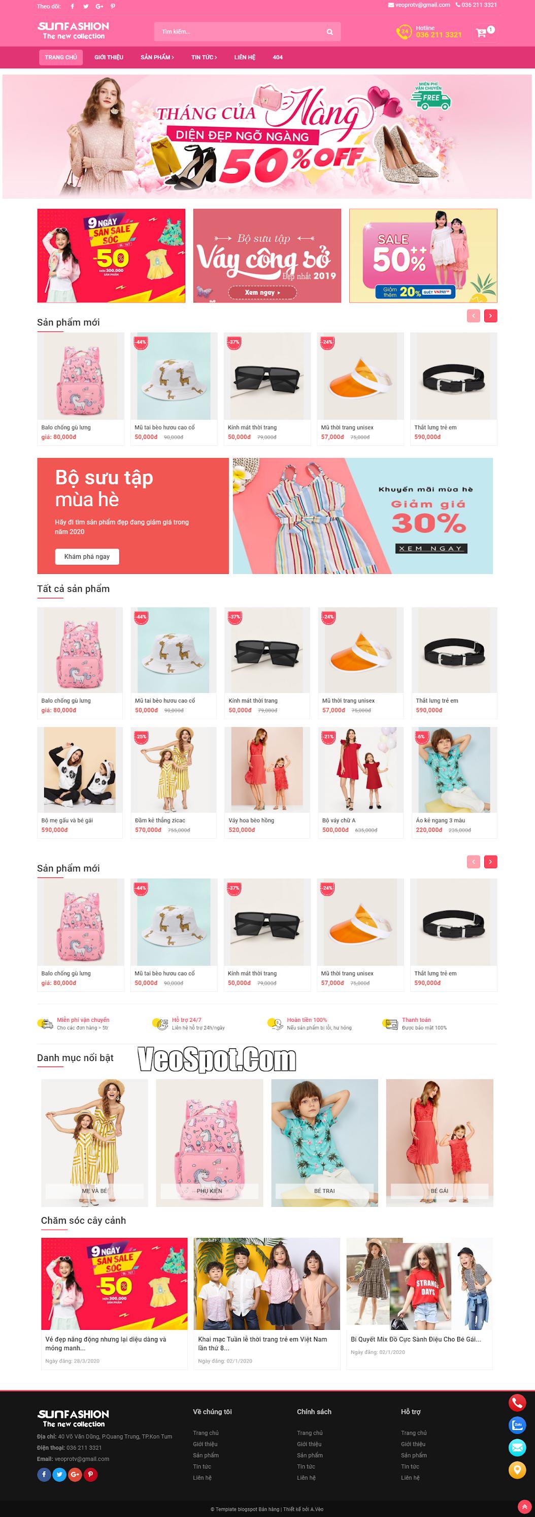 Giao diện template blogspot bán hàng Vèo SunFasun