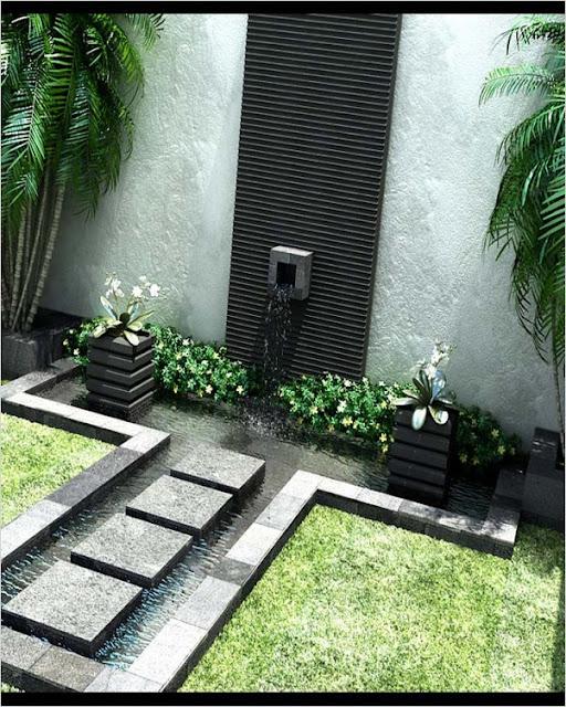 contemporary garden design water features ideas UK