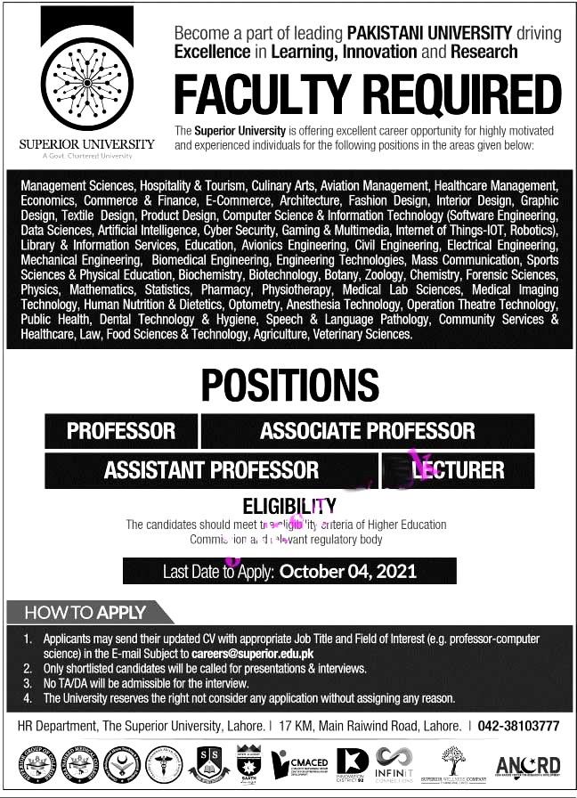 Apply Online- Superior University Lahore Latest Jobs 2021