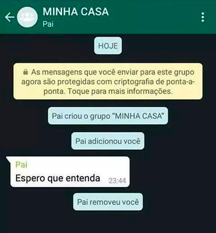 Pai zoando o filho no WhatsApp