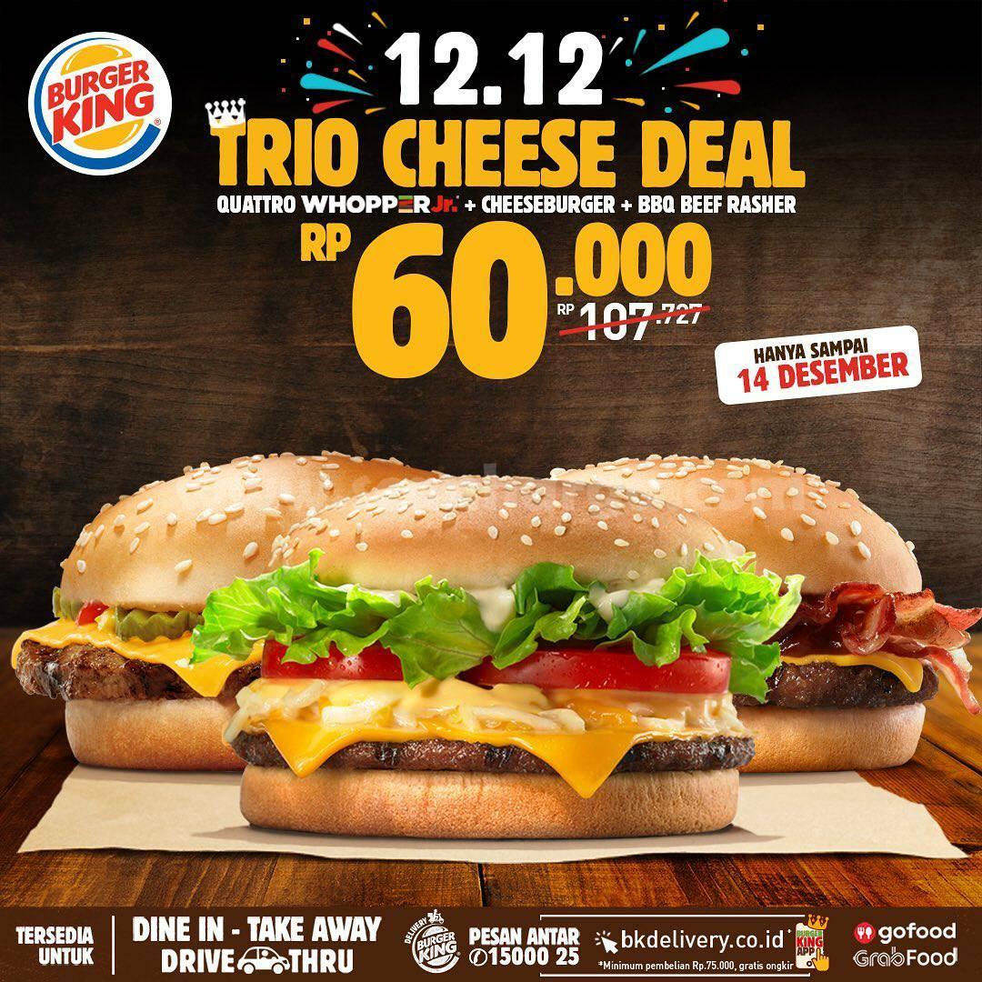 Promo Burger King 12.12 – harga Spesial Trio Cheese Deal hanya Rp 60.000