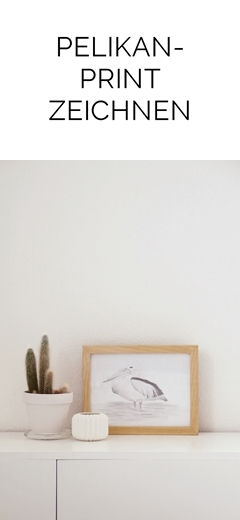 DIY einfacher Print: Pelikan zeichnen und rahmen als Wanddeko   Tasteboykott
