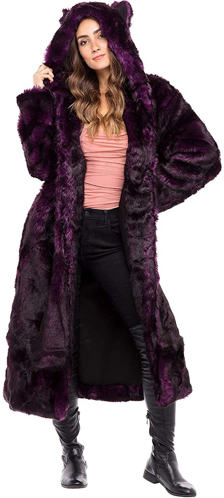 Full Length Faux Fur Jackets Coats With Hood for Women