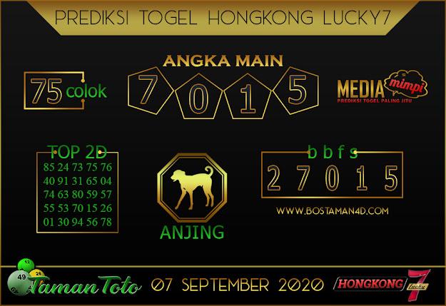 Prediksi Togel HONGKONG LUCKY 7 TAMAN TOTO 07 SEPTEMBER 2020
