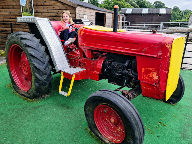 Image of a young girl playing on a large red farm tractor that is stationery and used as play equipment atat Graves Park Animal Farm.