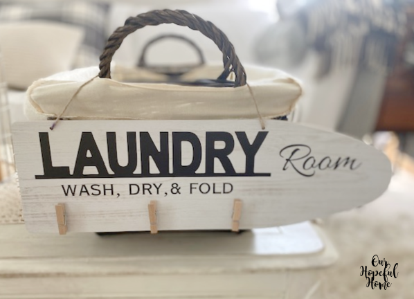 Laundry ironing board wooden sign
