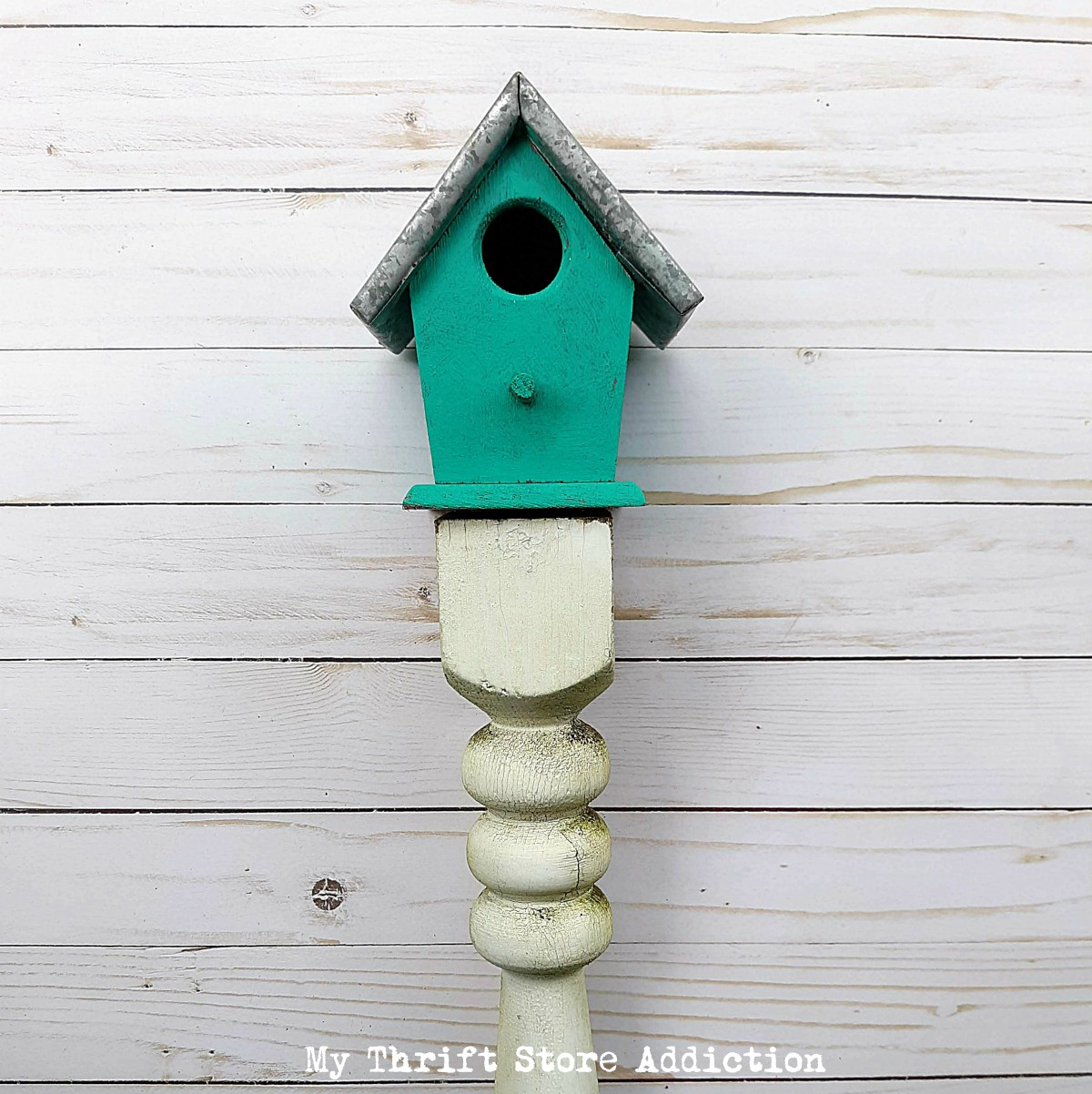 upcycled baluster birdhouse