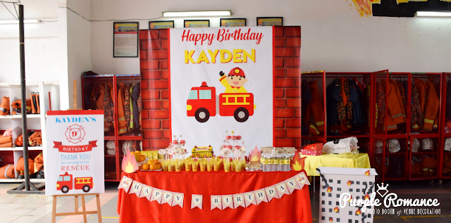 fire station, fire fighting, backdrop, birthday banner, malaysia, kuala lumpur, kl, selangor, ttdi, mont kiara, welcome board, birthday cake, cupcakes, fire theme, party setup, planner, boy, girl, package