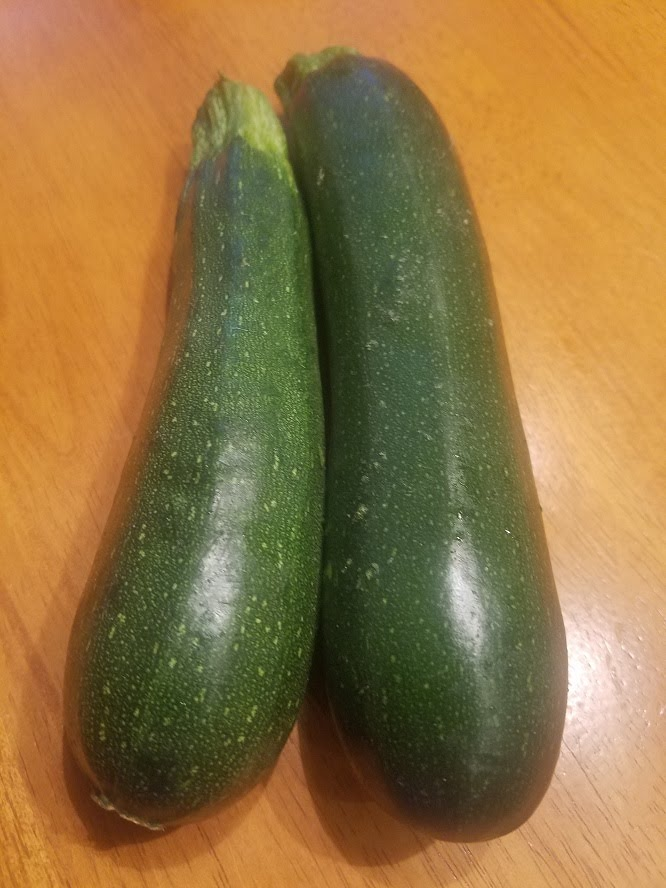 This is a photo of two green whole zucchini before slicing for fritters