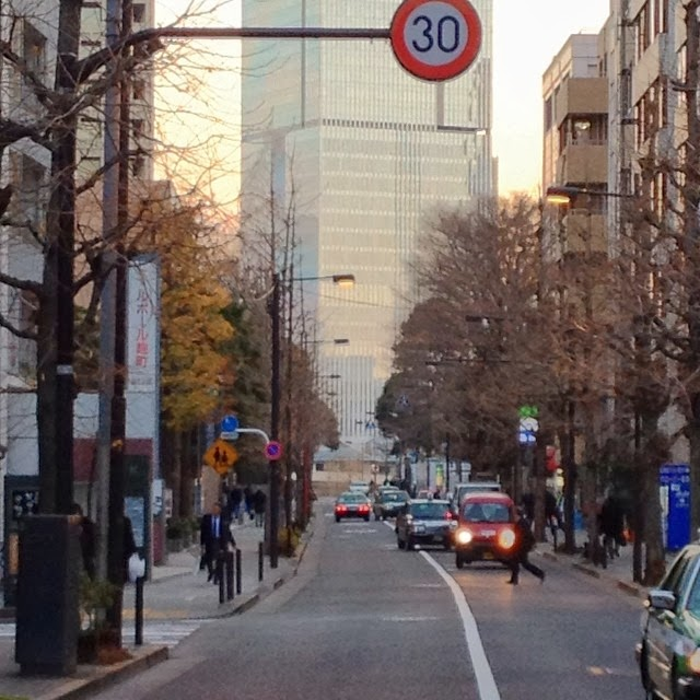 The Prudential Tower in Akasaka, towering over the streetscape of nearby Kojimachi.