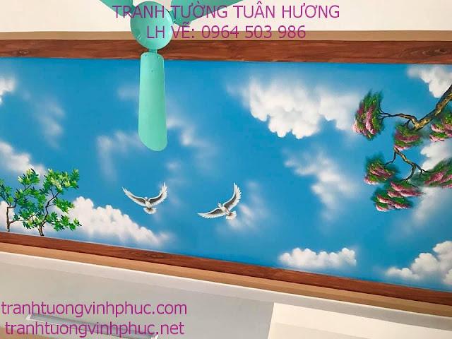 vẽ trần mây 3d tại tuân chính vĩnh tường vĩnh phúc
