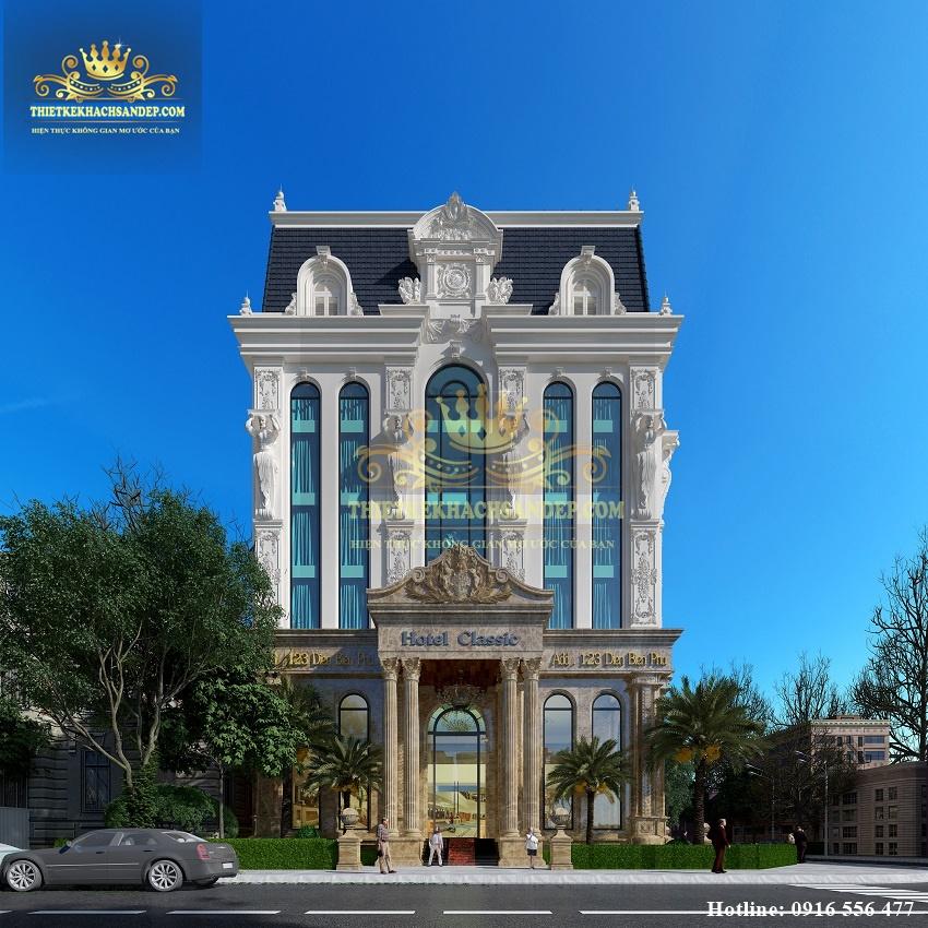 Hình ảnh: Thiết kế khách sạn 3 sao kiểu Pháp có sử dụng những hoa văn trang trí tinh xảo hợp lý để trang trí.