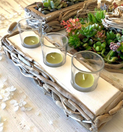 Reclaimed Driftwood Candle Holder Centerpiece