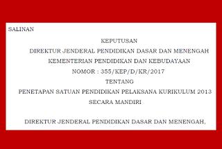 SK Dirjen Dikdasmen Tentang Satuan Pendidikan Pelaksana Kurikulum 2013 Tahun 2017