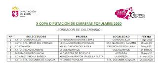 CAlendario Carreras Copa DIputacion 2020