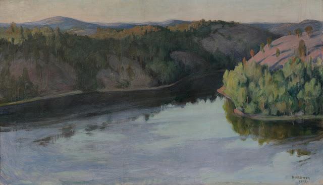 Kuvassa maalaus järvimaisemasta. Taustalla siintää metsä- ja vaaramaisema.