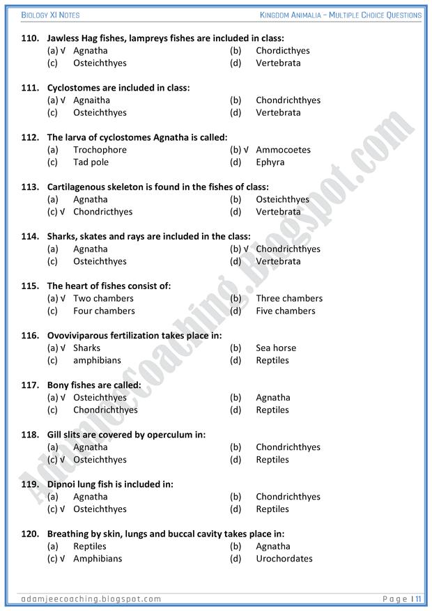 Image of: Animalia Short Kingdomanimaliamcqsbiology11th Adamjee Notes For All Subjects Adamjee Notes For All Subjects Kingdom Animalia Mcqs Biology 11th