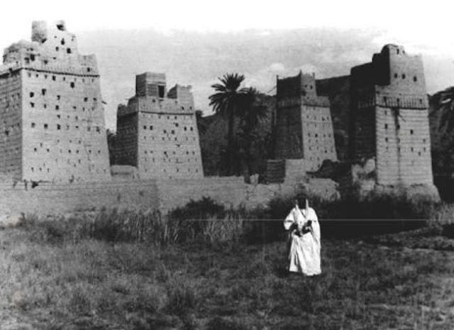 بيوت في معفجة في وادي نجران 1936م