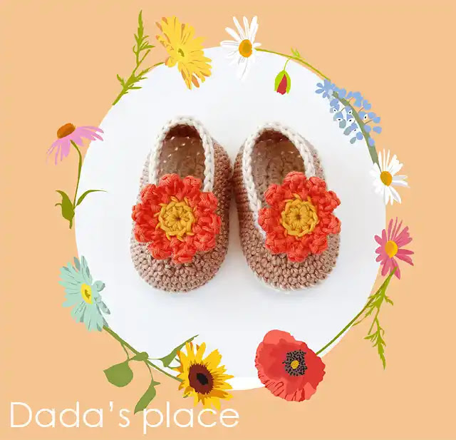 Botitas Flor de bebé a crochet (Tutorial + Patrón)