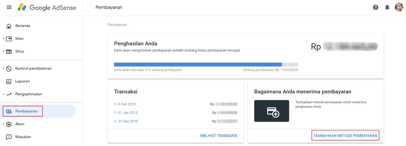 Menambahkan Rekening Bank AdSense