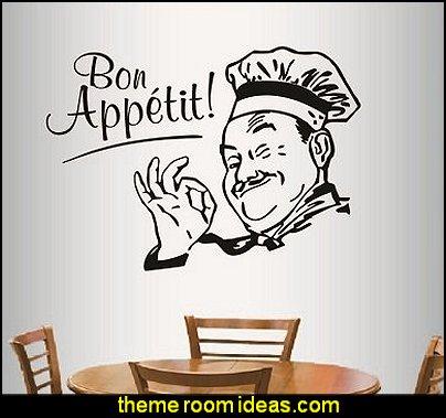 Bon Appetit Phrase Winking Cook Chef Kitchen Café Restaurant