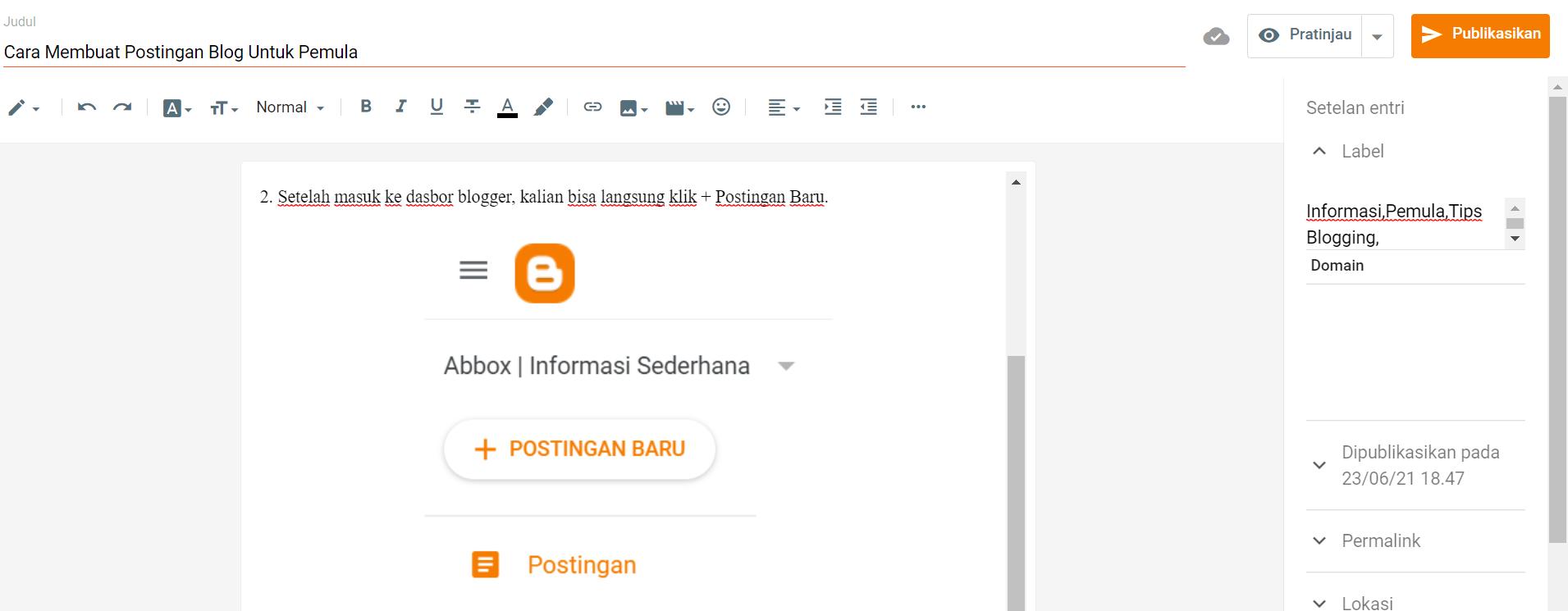 Cara Membuat Postingan Blog Untuk Pemula