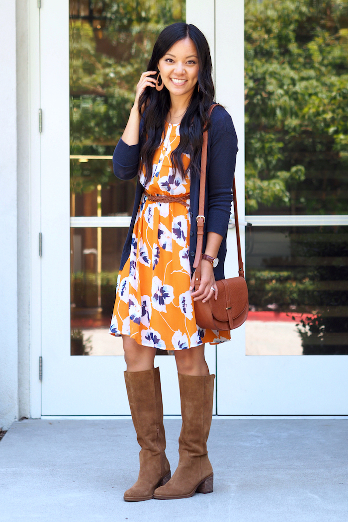 orange floral print dress + navy cardigan + tan suede boots + leather accessories