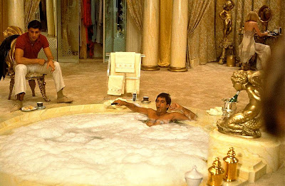 Al Pacino as Tony Montana, Scarface, Bathtub scene, Steven Bauer, Directed by  Brian De Palma