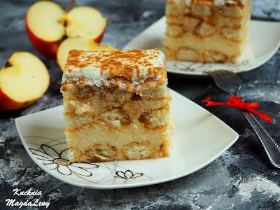Ciasto z budyniem jabłkowym bez pieczenia