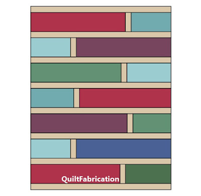 Quarter Cut quilt pattern with extra sashing by QuiltFabrication