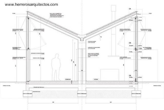 Plano arquitectónico de la casa corte transversal