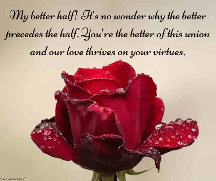 text message to better half with red rose